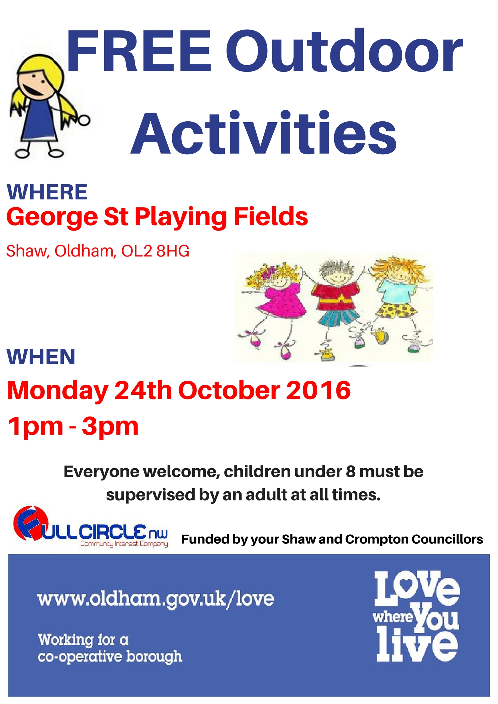 Free outdoor activities 24 Oct George Street Playing Fields