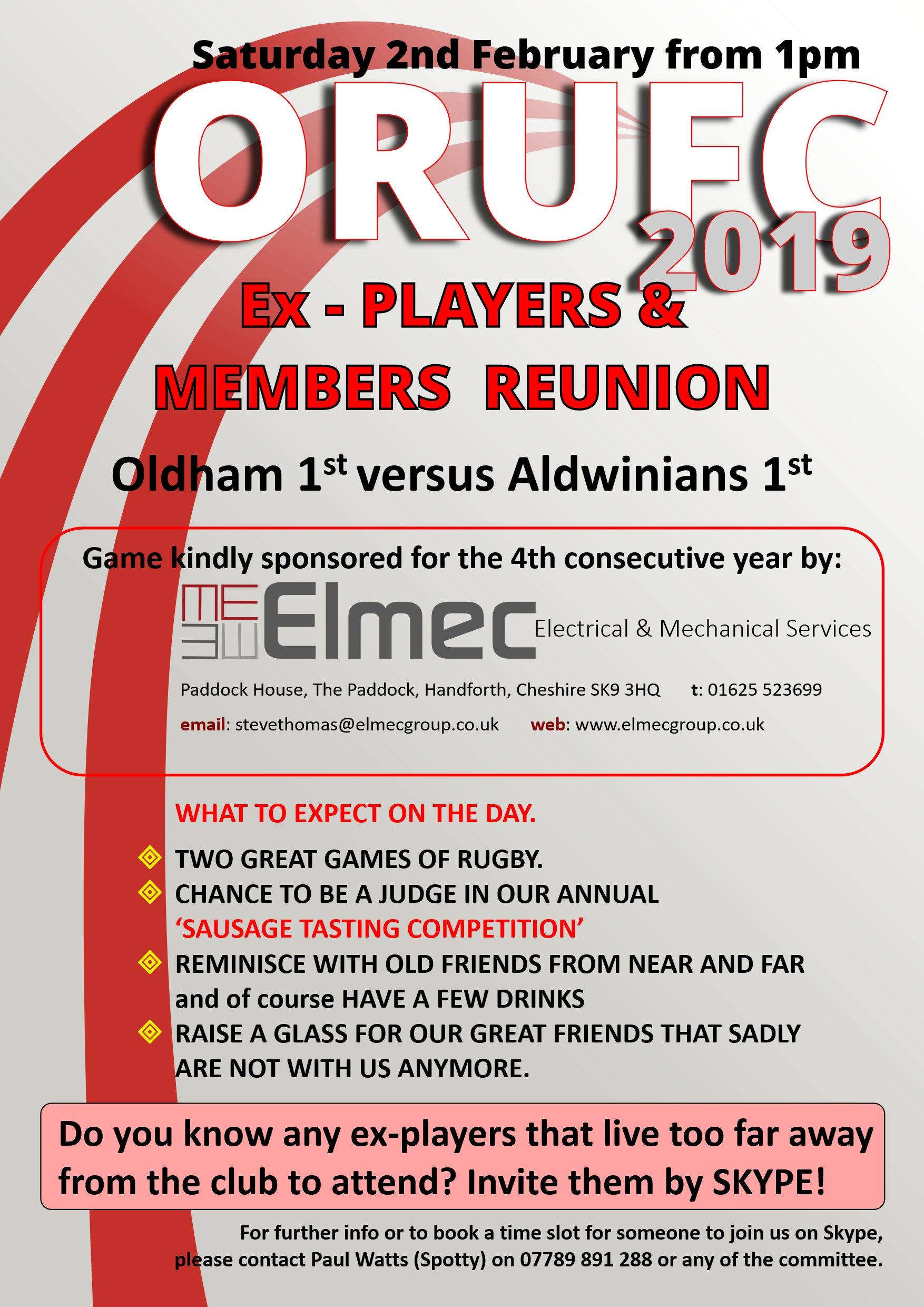 ORUFC players and members reunion Saturday 2nd Feb from 1pm